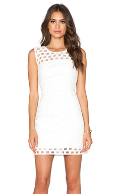 MILLY Jacquard Seamed Shift Dress in White