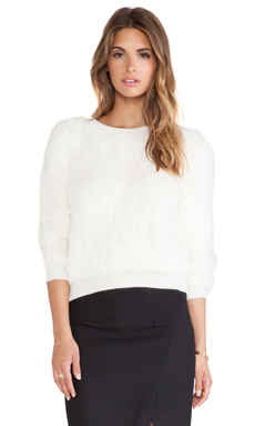 MILLY Knitted Rabbit Fur Sweater in White