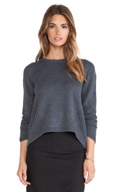 MILLY Angeled Mesh Sweater in Charcoal