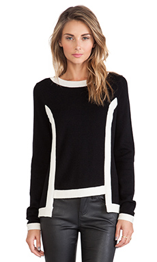 MILLY High Low Contrast Pullover in Black & White