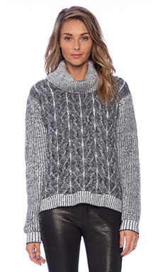 MILLY Braided Cable Sweater in Black & White
