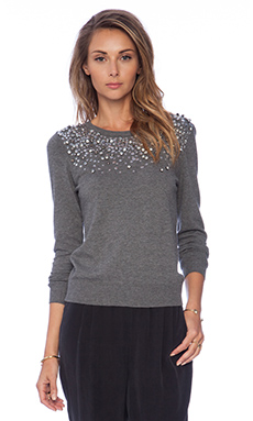 MILLY Gemstone Degrade Pullover in Heather Grey