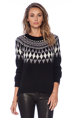 MILLY Fairisle Pullover in Black & White