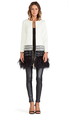 MILLY Feather Trim Jacket in White Multi