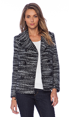 MILLY Knitted Tweed Peacoat in Black & Ivory