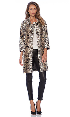 MILLY Alexis Animal Print Faux Fur Coat in Beige
