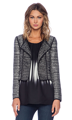 MILLY Piped Cardigan Jacket in Black