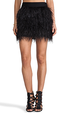 MILLY Cocktail Feather Mini Skirt in Black