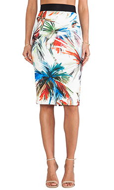 MILLY Long Pencil Skirt in Multi