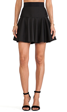 MILLY Valencia Short Flare Skirt in Black