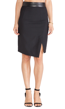MILLY Streth Suiting Slit Pencil Skirt in Black