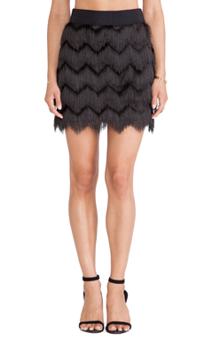 MILLY Fringe Mini Skirt in Black