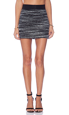 MILLY Knitted Tweed Mini Skirt in Black & Ivory