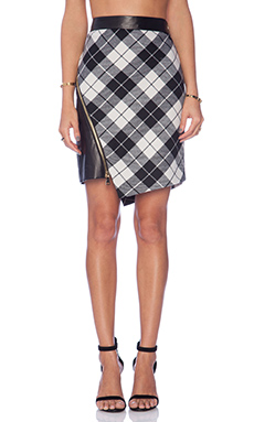 MILLY Tartan Slit Mini Skirt in Ivory