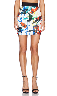MILLY Expressionist Print Zip Skirt in Multi