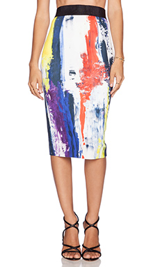 MILLY Printed Pencil Skirt in Graffiti Multi