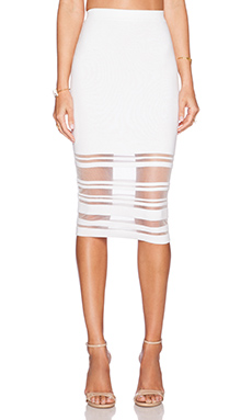 MILLY Illusion Stripe Skirt in White