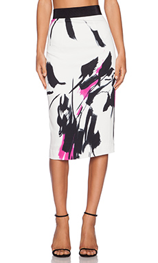MILLY Tokyo Floral Print Midi Skirt in Fuchsia