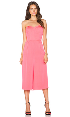 MILLY Strapless Culotte Jumpsuit in Fluo Candy