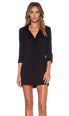 MILLY Silk Romper in Black