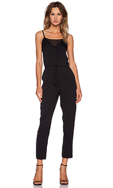 MILLY Silk Crepe Jumpsuit in Black