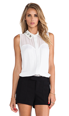 MILLY Jane Embellished Collar Blouse in White