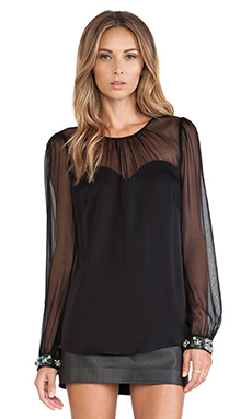 MILLY Beaded Elsie Blouse en Noir