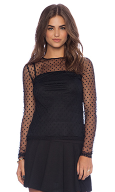 MILLY Aspirin Dot Tulle Ballet Sleeve Top in Black