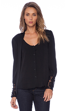 MILLY Dahlia Lace Lucien Blouse in Black