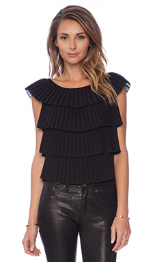 MILLY Pleated Layer Top in Black