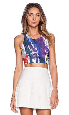 MILLY Printed Crop Top in Graffiti Multi