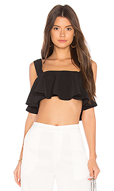 MILLY Ruffle Crop Top in Black