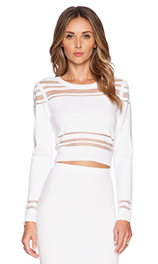 MILLY Illusion Stripe Crop Top in White
