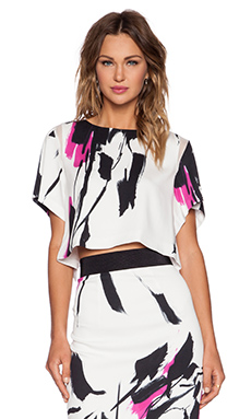MILLY Tokyo Floral Print Top in Fuchsia