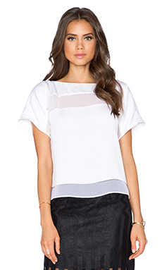 MILLY Illusion Stripe Tee in White