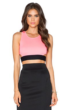 MILLY Tech Cut Out Crop Top in Fluo Candy