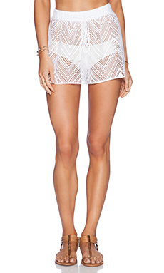 MILLY Gathered Crochet Short in White