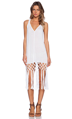 MILLY Featherweight Jersey Macrame Cover Up in White