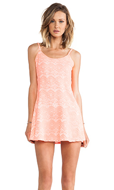 MM Couture by Miss Me Drop Waist Allover Lace Dress in Coral