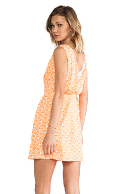 MM Couture by Miss Me Back Lace Insert Dress in Orange Print