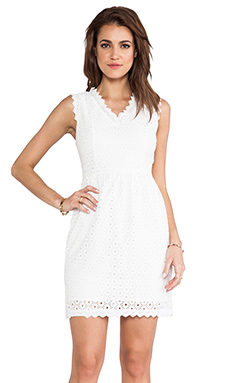 MM Couture by Miss Me V Neck Eyelet Dress in White