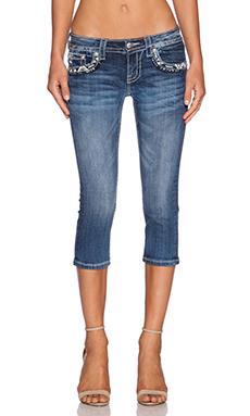 Miss Me Jeans Cuffed Capri in MED 296