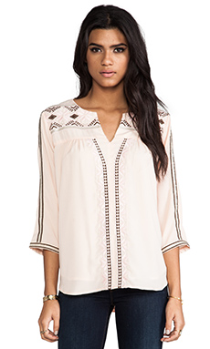 MM Couture by Miss Me 3/4 Sleeve Embroidered Top in Peach
