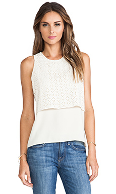 MM Couture by Miss Me Lace Overlay Tank in Ivory