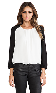 MM Couture by Miss Me Raglan Sleeve Top in White & Black