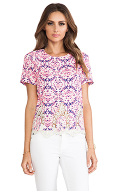 MM Couture by Miss Me Short Sleeve Shirt in Pink Print