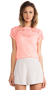 MM Couture by Miss Me Allover Lace Shirt in Coral