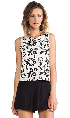 MM Couture by Miss Me Back Button Tank in Ivory & Black