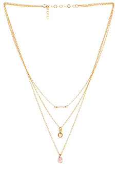 Mimi & Lu Chelsea Triple Strand Necklace in Powder Pink