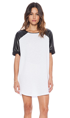 MINKPINK Skyline Raglin Dress in Black & White